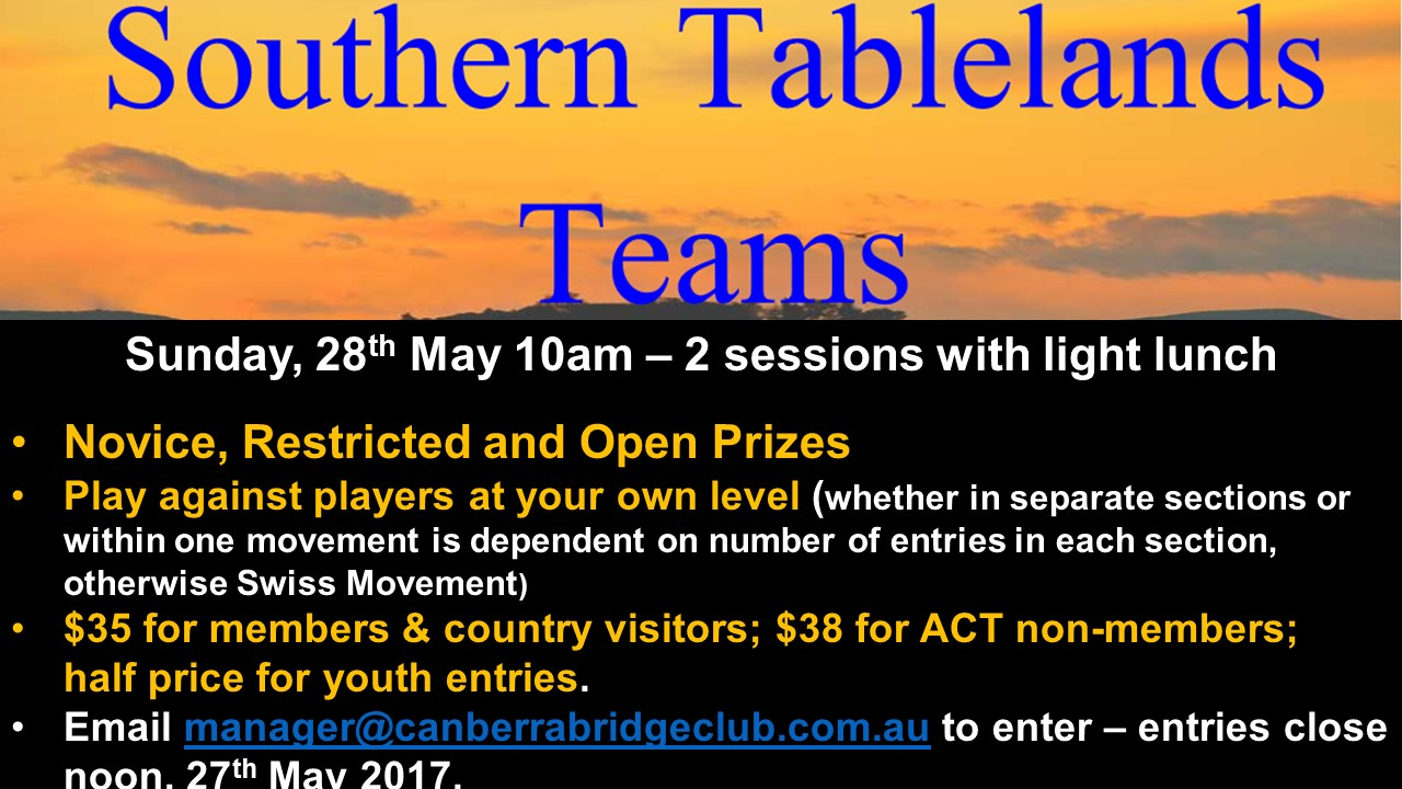 Southern Tablelands Teams Home Page Ad