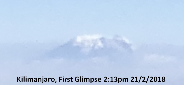 Kilimanjaro First Glimpse 2:13pm 21/7/2018