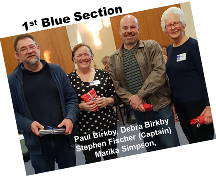 Blue Section Winners, Paul Birkby, Debra Birkby, Stephen Fischer (Captain), Marika Simpson
