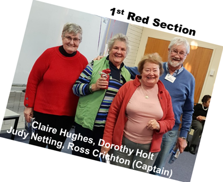 Red Section Winners, Claire Hughes, Dorothy Holt, Judy Netting, Ross Crichton (Captain)