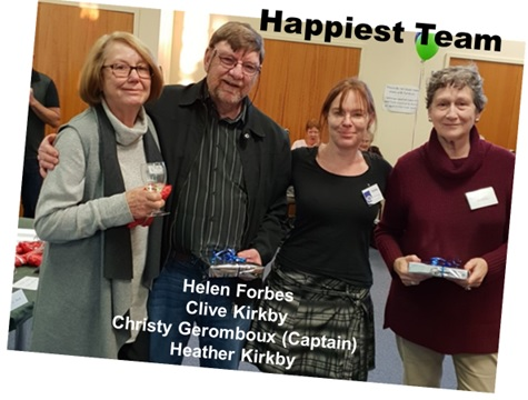 The Happiest Team, Helen Forbes, Clive Kirkby, Christy Geromboux (Captain,) Heather Kirkby